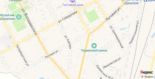 Луговая улица в Данилове с номерами домов на карте. Спутник и схема онлайн