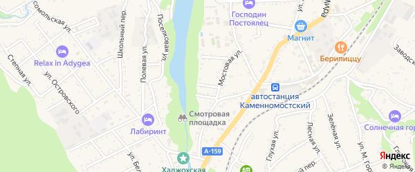 Майский 2-й тупик на карте Каменномостского поселка Адыгеи с номерами домов
