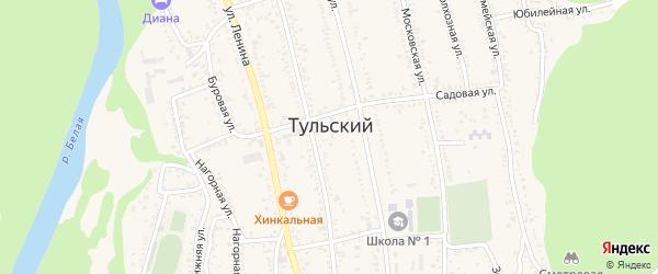 Дорога А/Д Подъезд к рп. Тульский на карте Тульского поселка Адыгеи с номерами домов