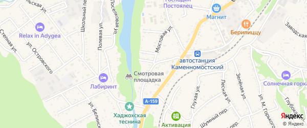 Мостовая улица на карте Каменномостского поселка Адыгеи с номерами домов