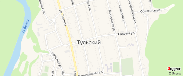 Садовая улица на карте Тульского поселка Адыгеи с номерами домов