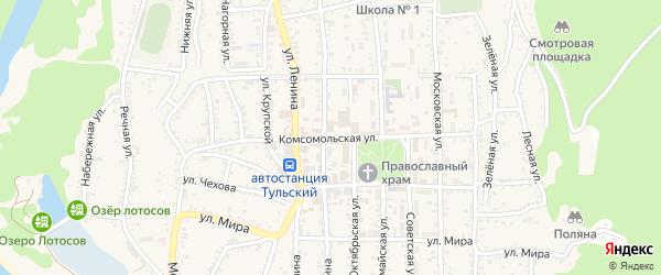 Комсомольская улица на карте Тульского поселка Адыгеи с номерами домов