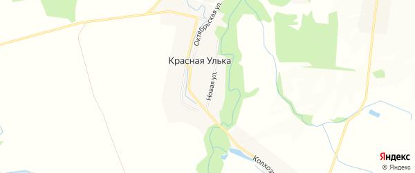 Карта хутора Красной Ульки в Адыгее с улицами и номерами домов