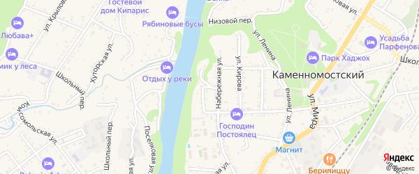 Речной переулок на карте Каменномостского поселка Адыгеи с номерами домов