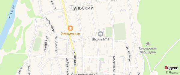 Партизанская улица на карте Тульского поселка Адыгеи с номерами домов