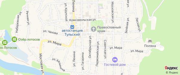 Октябрьская улица на карте Тульского поселка Адыгеи с номерами домов