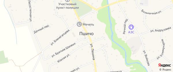 Широкая улица на карте аула Пшичо Адыгеи с номерами домов