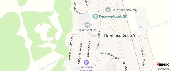 Лесная улица на карте Первомайского поселка Адыгеи с номерами домов