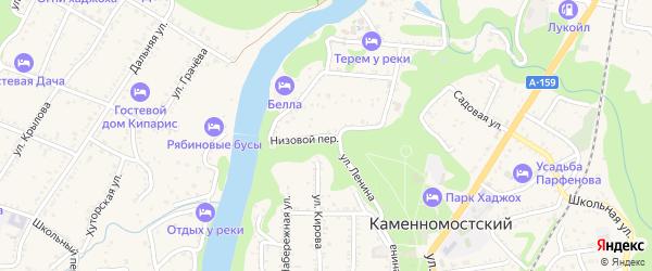 Низовой переулок на карте Каменномостского поселка Адыгеи с номерами домов