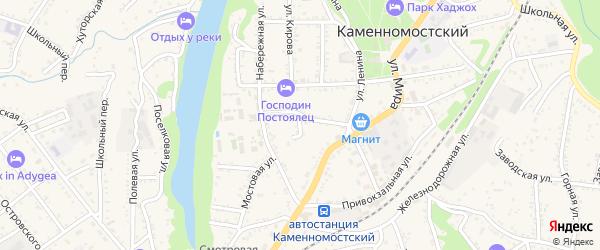 Охотничий тупик на карте Каменномостского поселка Адыгеи с номерами домов