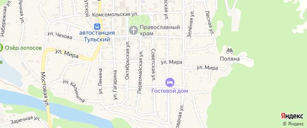Советская улица на карте Тульского поселка Адыгеи с номерами домов