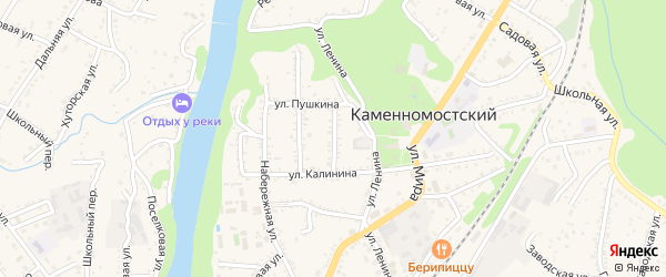 Пионерская улица на карте Каменномостского поселка Адыгеи с номерами домов