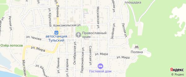 Школьная улица на карте Тульского поселка Адыгеи с номерами домов