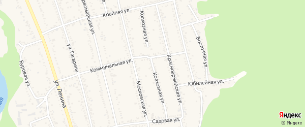 Колхозная улица на карте Тульского поселка Адыгеи с номерами домов