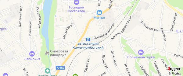 Привокзальная улица на карте Каменномостского поселка Адыгеи с номерами домов