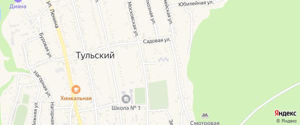 Жемчужный переулок на карте Тульского поселка Адыгеи с номерами домов
