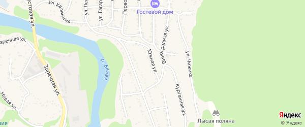 Южная улица на карте Тульского поселка Адыгеи с номерами домов