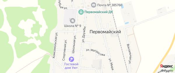 Улица Суворова на карте Первомайского поселка Адыгеи с номерами домов
