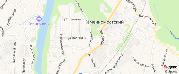 Улица Калинина на карте Каменномостского поселка с номерами домов