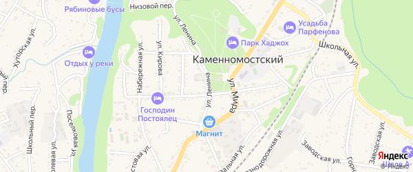 Улица Ленина на карте Каменномостского поселка Адыгеи с номерами домов
