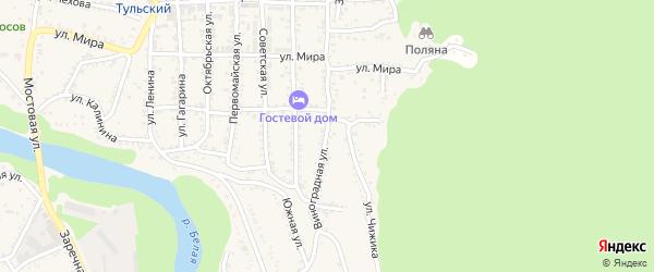 Виноградная улица на карте Тульского поселка Адыгеи с номерами домов