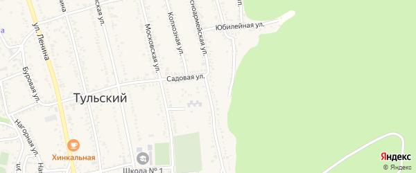 Красноармейская улица на карте Тульского поселка Адыгеи с номерами домов