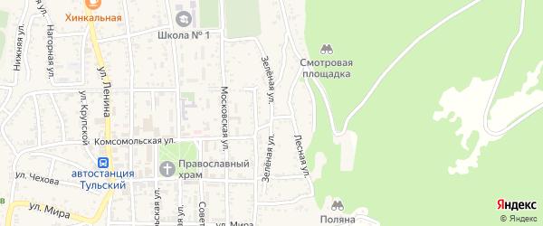 Зеленая улица на карте Тульского поселка Адыгеи с номерами домов