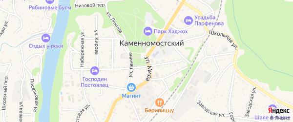 Улица Мира на карте Каменномостского поселка Адыгеи с номерами домов