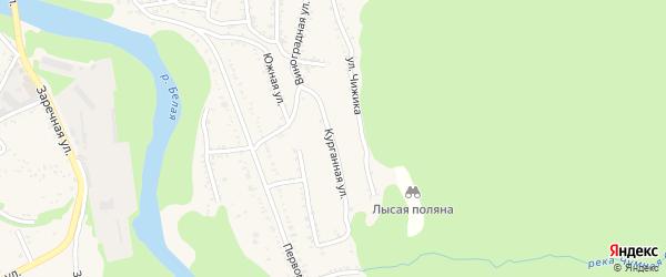 Курганная улица на карте Тульского поселка Адыгеи с номерами домов