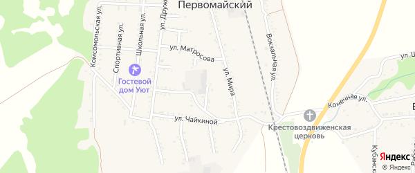 Пионерская улица на карте Первомайского поселка Адыгеи с номерами домов