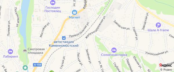 Железнодорожная улица на карте Каменномостского поселка Адыгеи с номерами домов