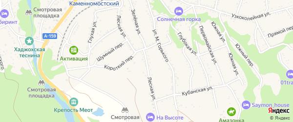 Лесная улица на карте Каменномостского поселка Адыгеи с номерами домов