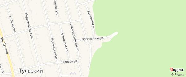Юбилейная улица на карте Тульского поселка Адыгеи с номерами домов