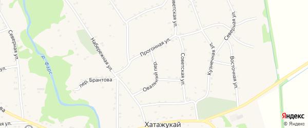 Овальный переулок на карте аула Хатажукая Адыгеи с номерами домов