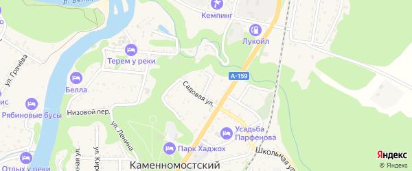 Виноградный переулок на карте Каменномостского поселка Адыгеи с номерами домов