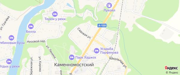 Садовая улица на карте Каменномостского поселка Адыгеи с номерами домов