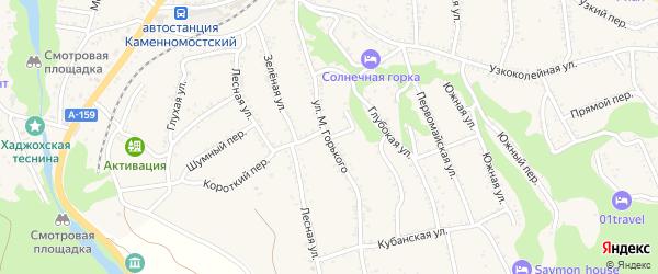 Тупик М.Горького на карте Каменномостского поселка Адыгеи с номерами домов