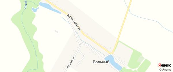 Колхозная улица на карте Вольного хутора Адыгеи с номерами домов