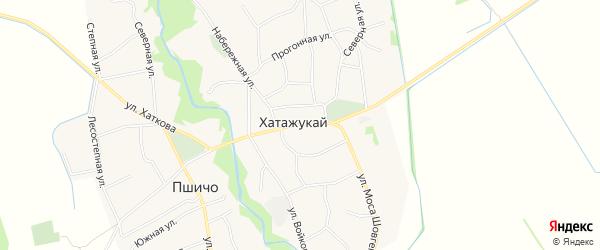 Карта аула Хатажукая в Адыгее с улицами и номерами домов