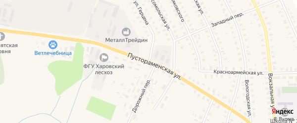 Пустораменская улица на карте Харовска с номерами домов
