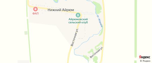 Восточная улица на карте села Нижнего Айрюма Адыгеи с номерами домов