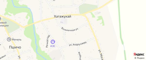 Больничная улица на карте аула Хатажукая Адыгеи с номерами домов
