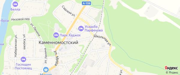 Школьная улица на карте Каменномостского поселка Адыгеи с номерами домов