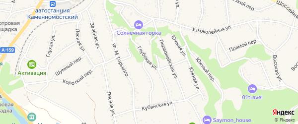 Глубокая улица на карте Каменномостского поселка Адыгеи с номерами домов