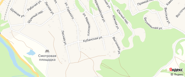 Кубанская улица на карте Каменномостского поселка Адыгеи с номерами домов