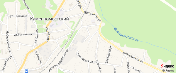 Шоссейный переулок на карте Каменномостского поселка Адыгеи с номерами домов