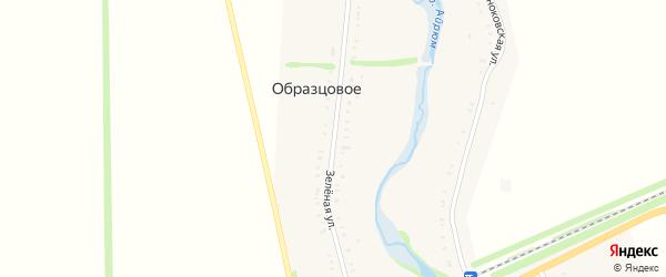 Зеленая улица на карте Образцового села Адыгеи с номерами домов