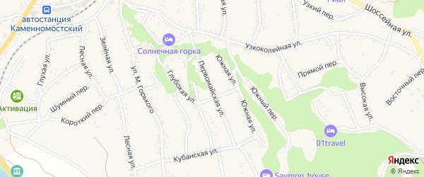 Первомайская улица на карте Каменномостского поселка Адыгеи с номерами домов