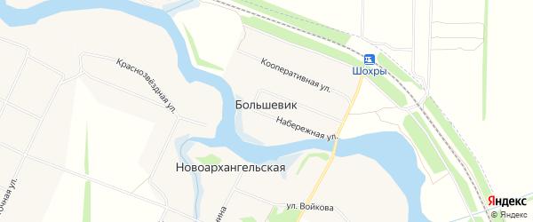 Карта поселка Большевика в Краснодарском крае с улицами и номерами домов