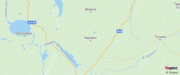 Карта Харовского района Вологодской области с городами и населенными пунктами
